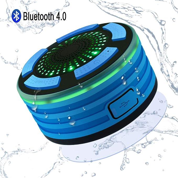 Altavoz Bluetooth Ducha Inalámbrico Impermeable IPX7, Alitoo Altavoz Portátil con Luces de Humor LED, Ventosa, Micrófono Incorporado, Radio FM, Manos Libres para Android, Baño, Cocina, Coche (Azul): Amazon.es: Electrónica