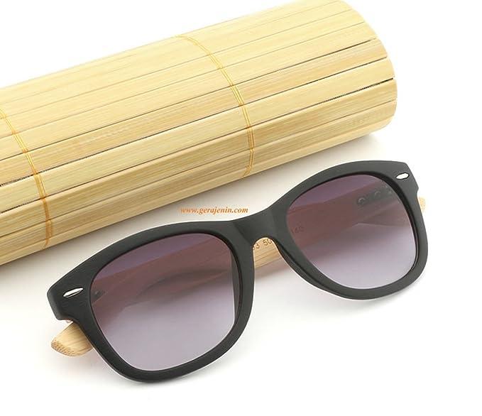 9a9795515d Unisex Handmade Bamboo Wayfarer Sunglasses UV400 HD Polarized Wooden Retro  Color Frame Glasses (Black)