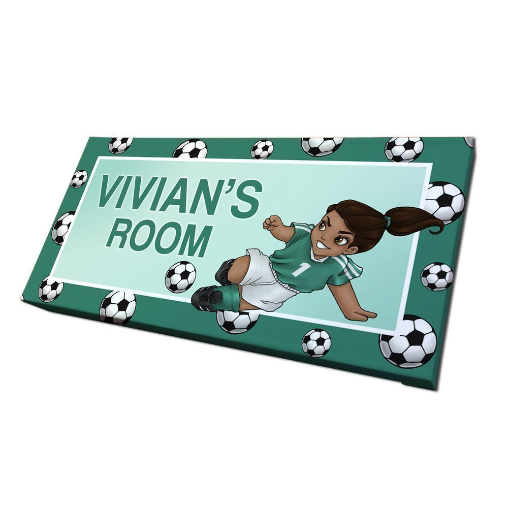 Amazon.com: Girls Soccer Door Sign with Personalized Name and Custom ...