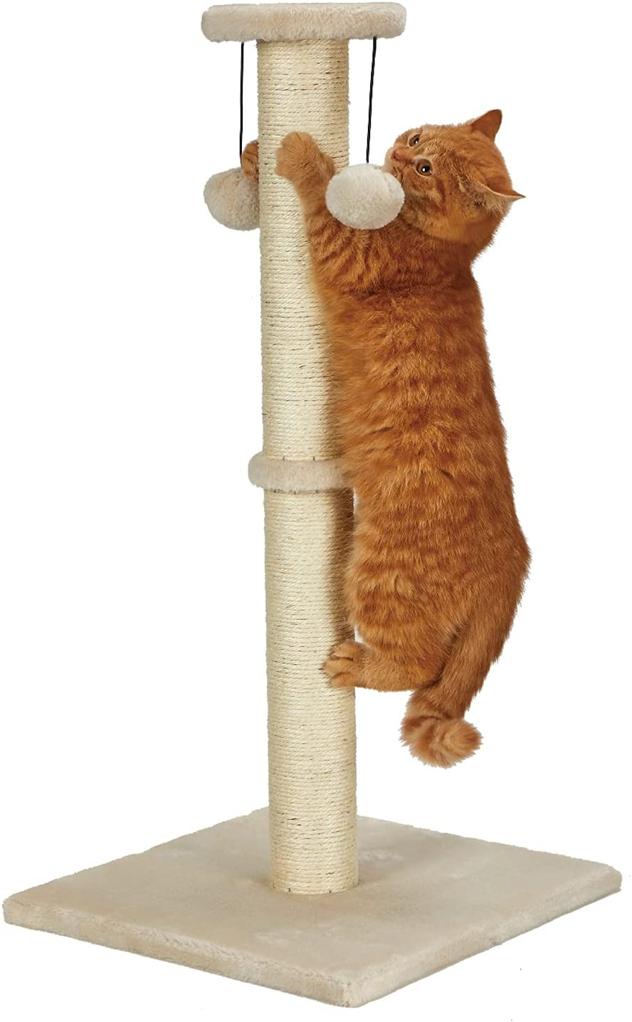 """PEEKAB 32""""Tall Cat Scratching Post Sisal Rope Scratcher Tree with Soft Plush Platform Top and Interactive Ball Toys"""