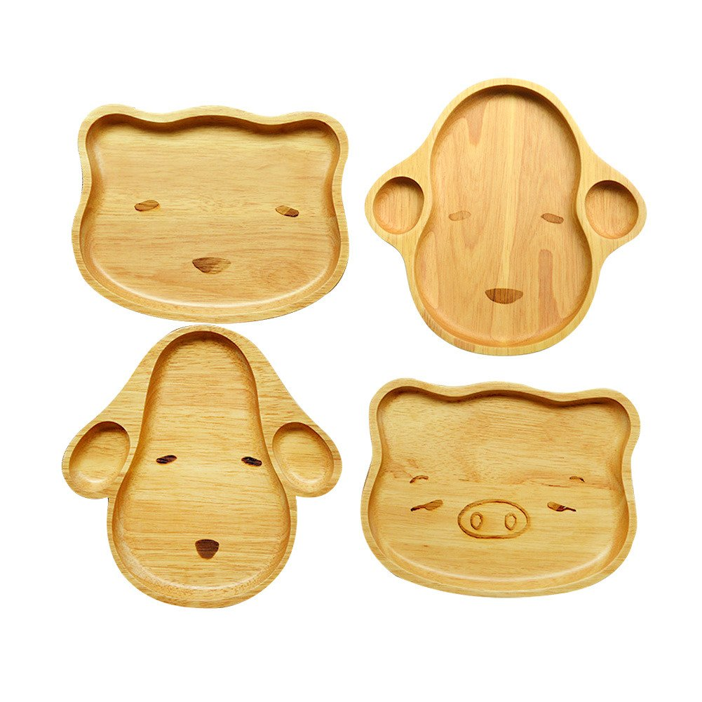 Lean In Animal Dessert Plate and Children Wood Plate Set, 4-Piece