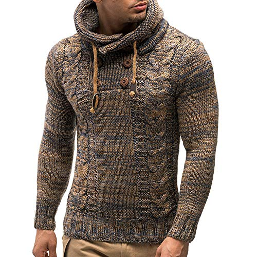 Fenleo Men's Hooded Sweater, Autumn Winter Pullover Knitted Cardigan Coat Jacket Outwear 7479