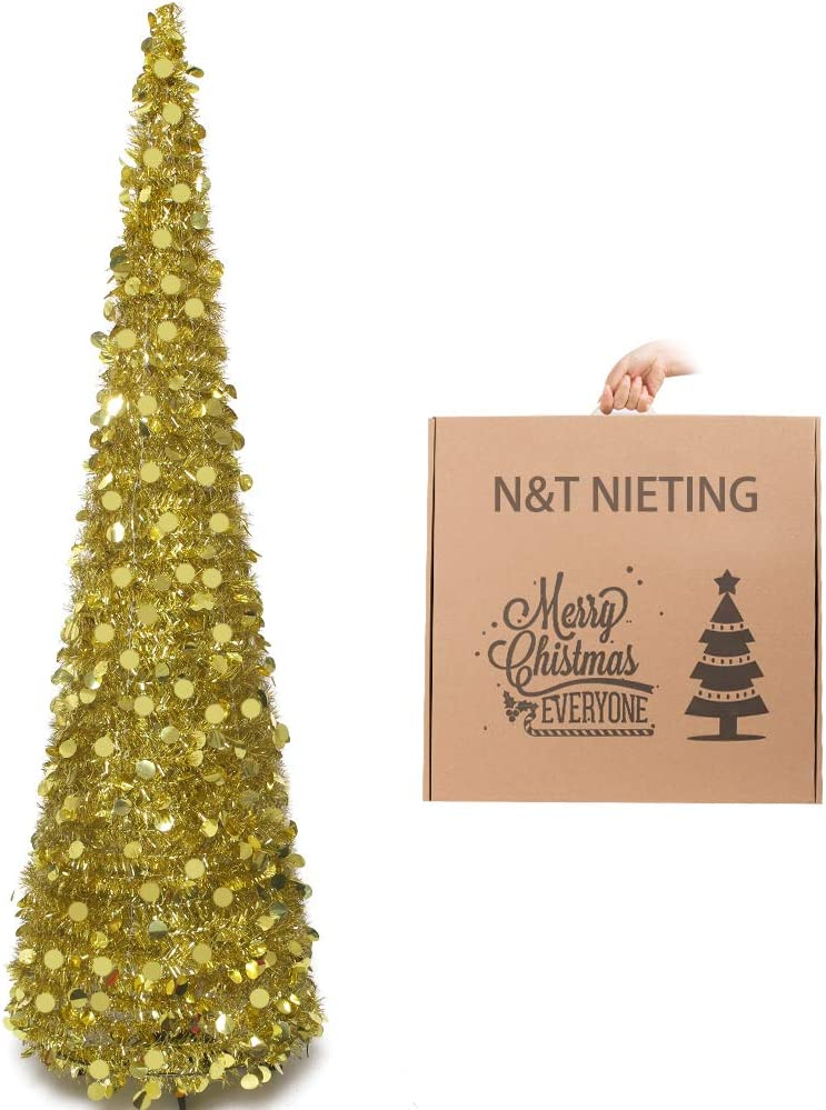 N&T NIETING Christmas Tree, 6ft Collapsible Pop Up Gold Tinsel Christmas Tree Coastal Christmas Tree for Holiday Xmas Decorations, Home Display, Office Decor