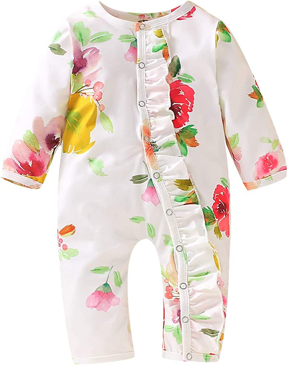 mataorso Newborn Baby Boy Girl Sleeper Gown Long Sleeve Floral Infant Sleepwear Romper Nightgowns Pajamas Set
