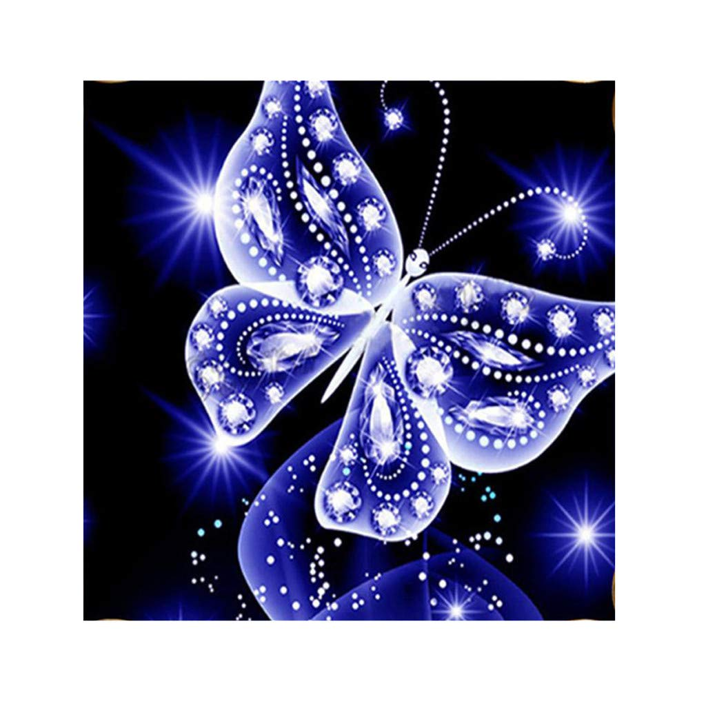 DIY 5D Diamond Painting Kit, Hoshell DIY 5D Diamond Embroidery Painting Becautiful Butterfly Cross Stitch Craft Home Wall Gift Decor (Blue)