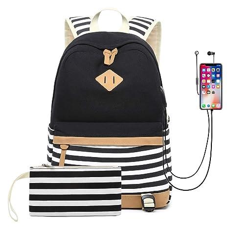 f8ec8b94e6d1 Amazon.com: Sixinu 2PCS Canvas Laptop USB Backpack College Student ...