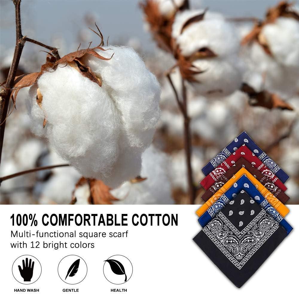 colori misti sciarpa bracciale fazzoletto Bandana scialle 55 x 55 cm collo 100/% cotone foulard 6 pezzi Vivibel capelli