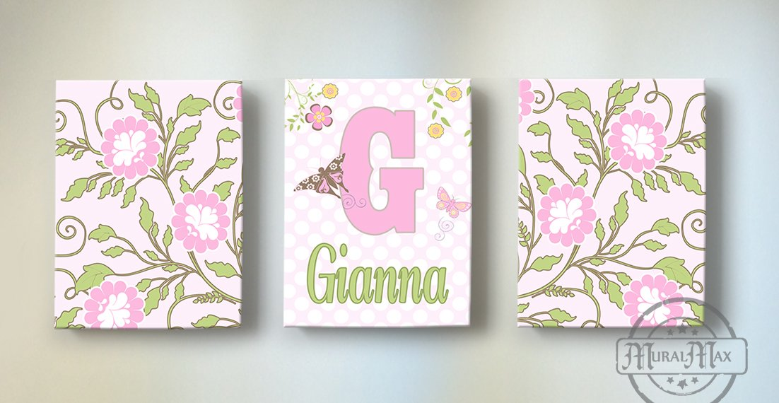MuralMax - Personalized Flower Garden & Butterfly Theme - Canvas Nursery Décor Collection - Set of 3 - Size - 8 x 10