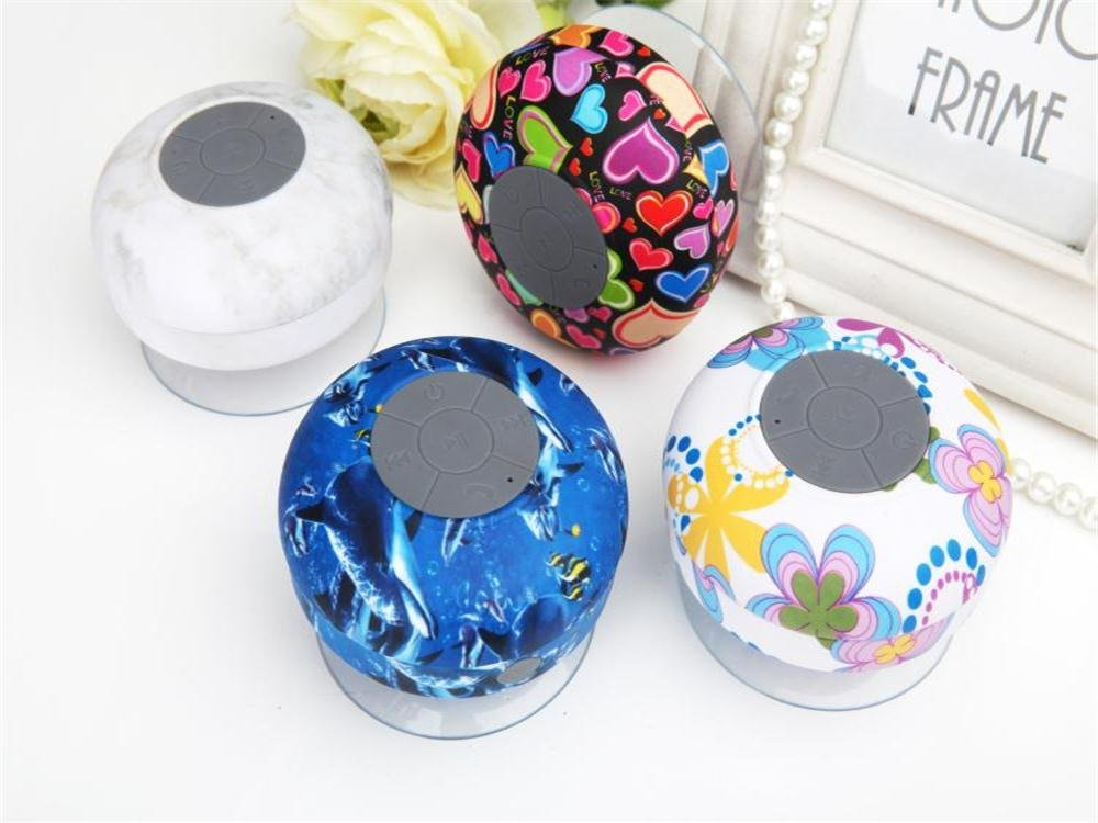 GRANDEY Portable Waterproof Bluetooth V3.0 + EDR Shower Speaker Handsfree Speakerphone with Suction Cup Suitable for Car, Bedroom, Wash Room, Kitchen, Office, Conference, Business Trip, Vacation Etc (Flower) by Grandey