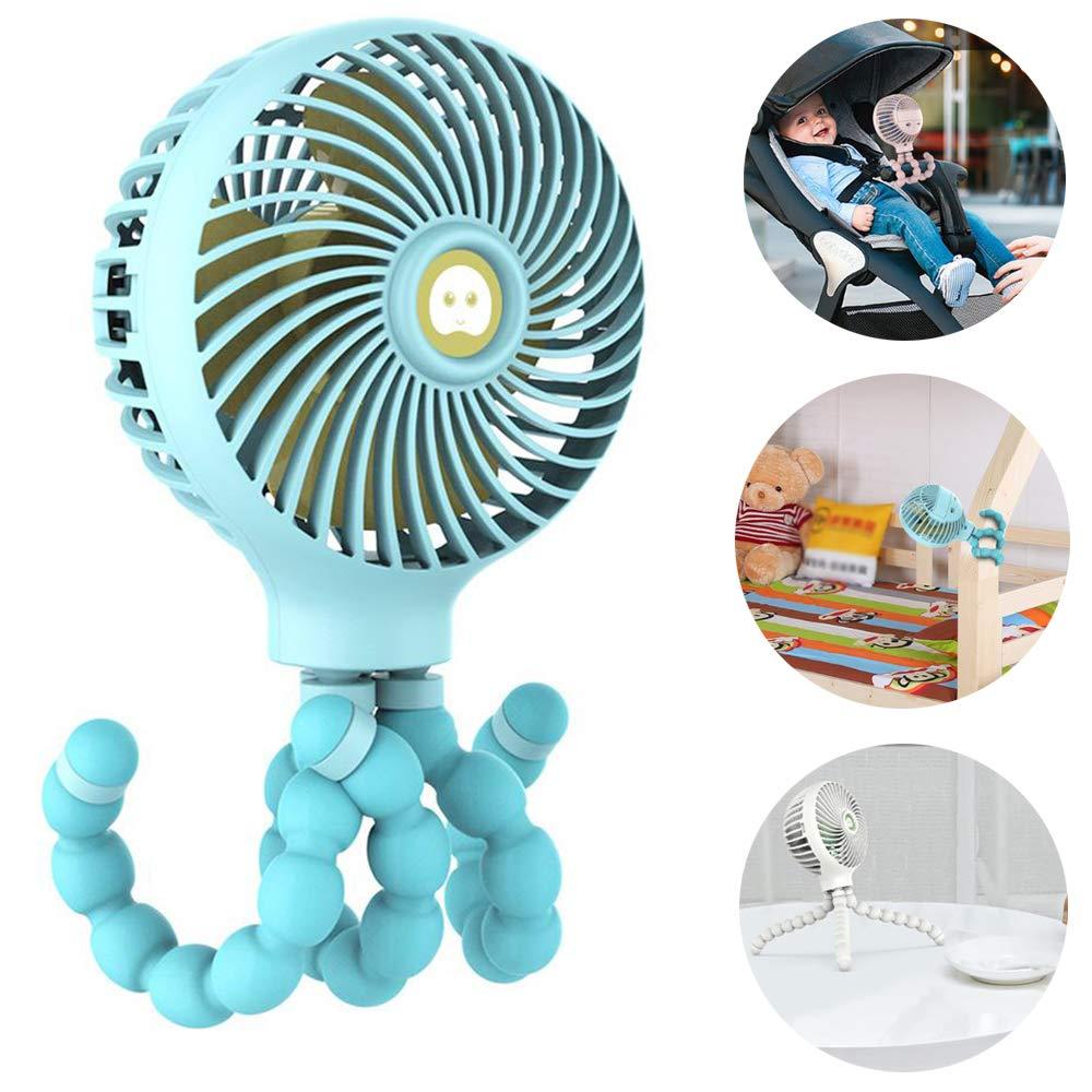 lesgos Baby Stroller Fan, USB Rechargeable Handheld Fan with Flexible Tripod Fix On Stroller/Student Bed/Bike, 3 Speeds Setting Mini Desk Fan for Office Room Car Traveling BBQ Gym