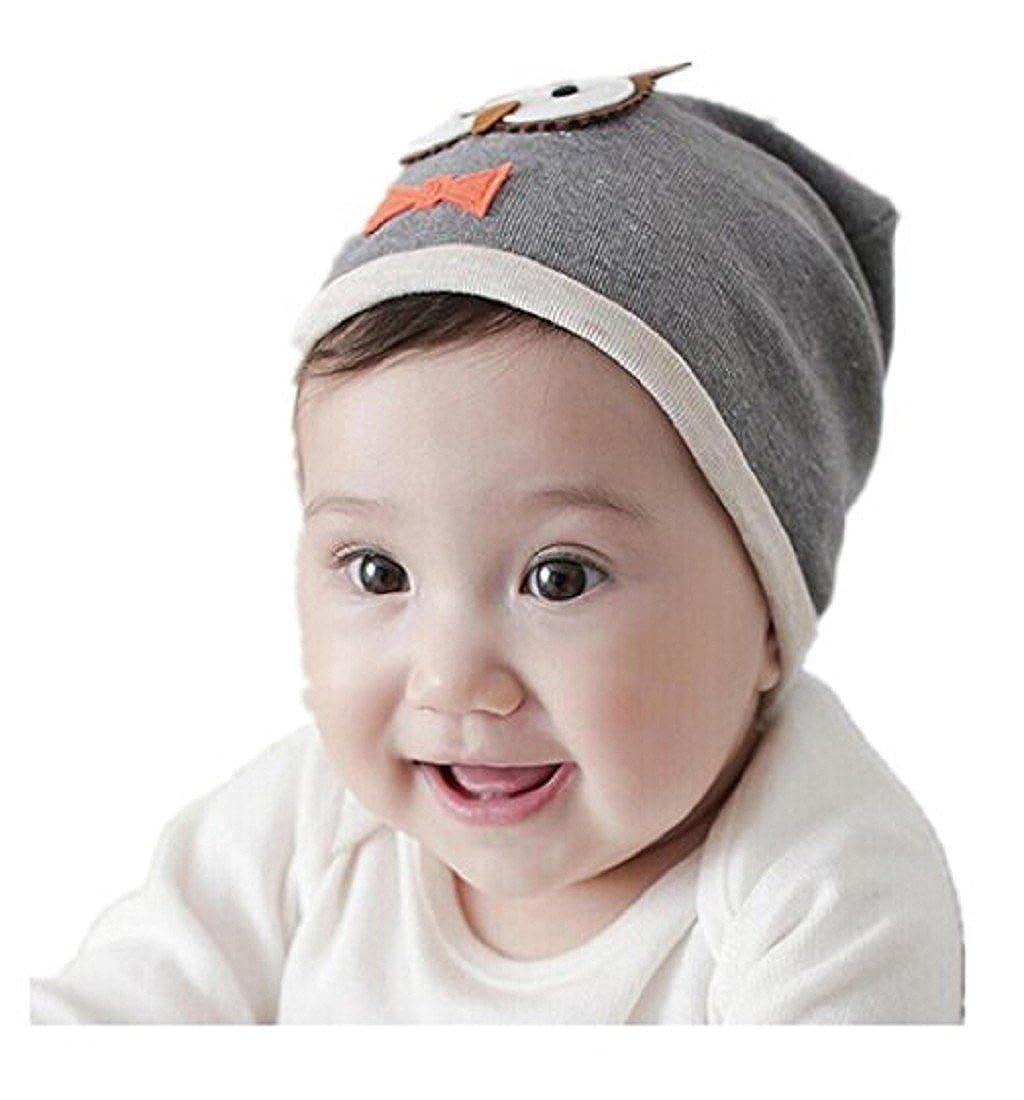 Bonnet Bébé, Amlaiworld Unisexe Bonnet en coton Capuchon mou de fille Hibou chaud d'enfant Gris)
