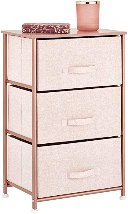 mDesign Vertical Dresser Storage Tower - Sturdy Steel Frame, Wood Top, Easy Pull Fabric Bins - Organizer Unit for Bedroom, Hallway, Entryway, Closets - Textured Print, 3 Drawers - Light Pink/Rose Gold