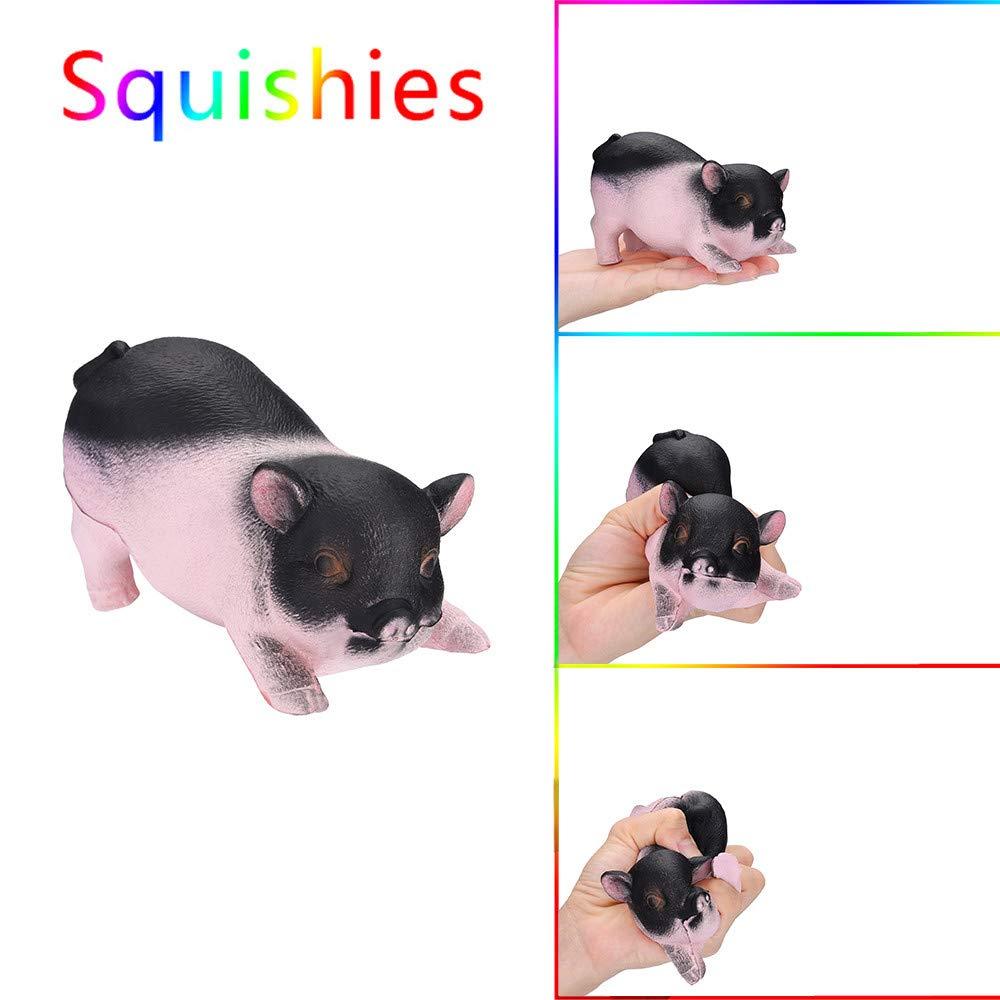 TianranRT Golden Cerdo perfumado Squishies lentamente creciente niños juguete estrés alivio juguete lúpulo requisiten, Negro