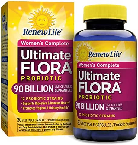 Renew Life - Ultimate Flora Probiotic Women's Care, Shelf Stable Probiotic Supplement - 90 billion - 30 vegetable capsules (Packaging May Vary)