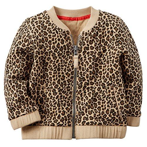 Carter's Baby Girls' Leopard Print Jacquard Bomber Jacket (9 Months, Leopard)