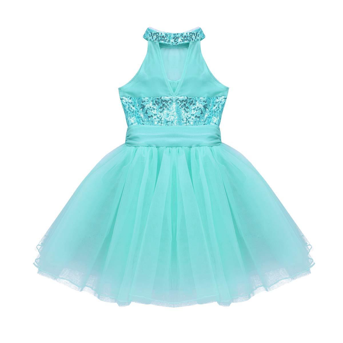 iixpin Kids Girls Ballet Dance Tutu Dress Sleeveless Mesh Splice Sequins Halter Leotard Active Gymnastic Camisole