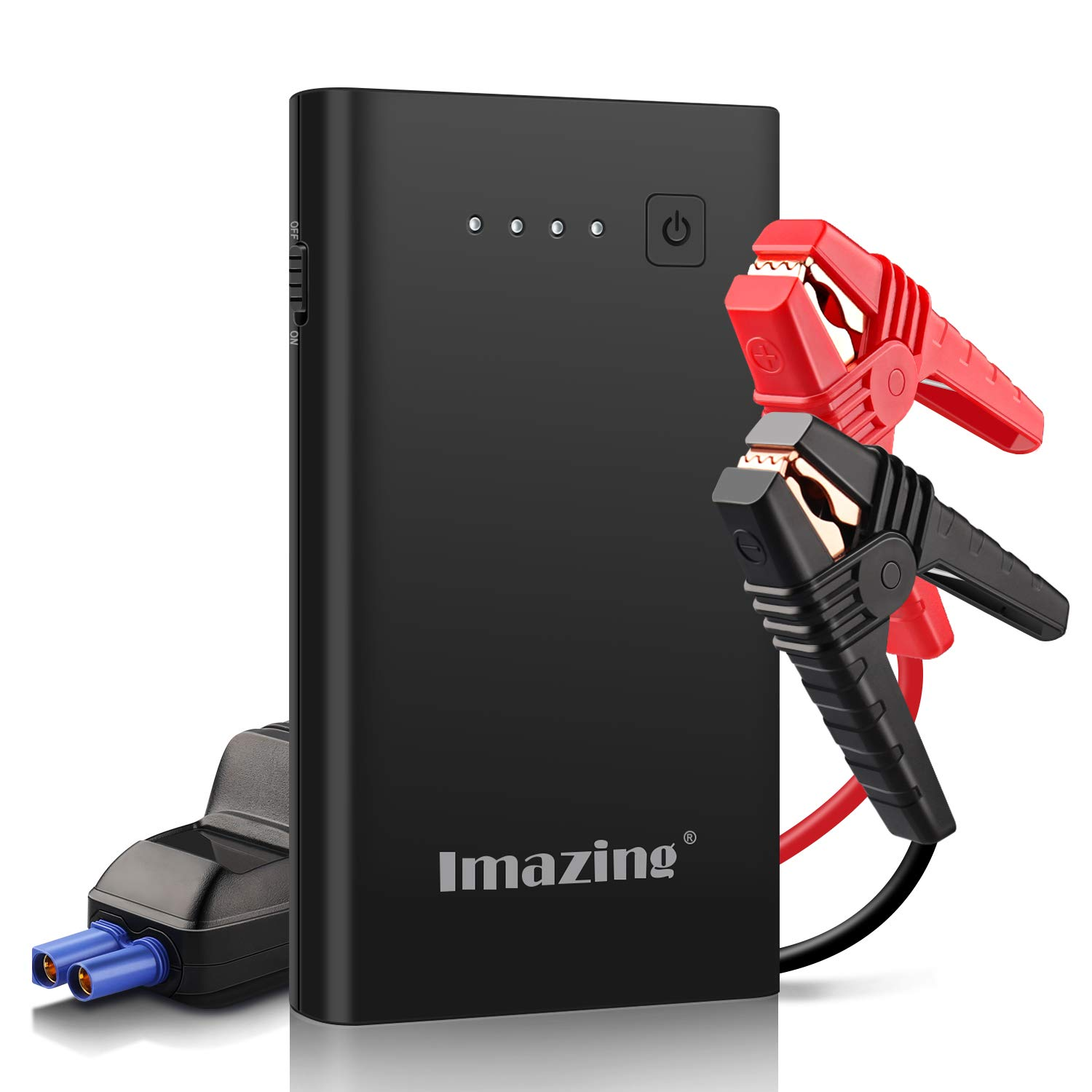 Imazing Car Jump Starter 1000A Peak 8000mAh with Type-C Port(Up to 7.0L Gas or 5.5L Diesel Engine), 12V Portable Power Pack Auto Battery Booster with LCD Display Jumper Cables, QC 3.0 and LED Light by Imazing (Image #1)