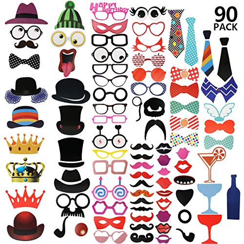 Yosemy [90 Pcs] Photo Booth Props DIY Kit for Wedding, Birthday, Party - DIY photo booth Fun Accessories]()