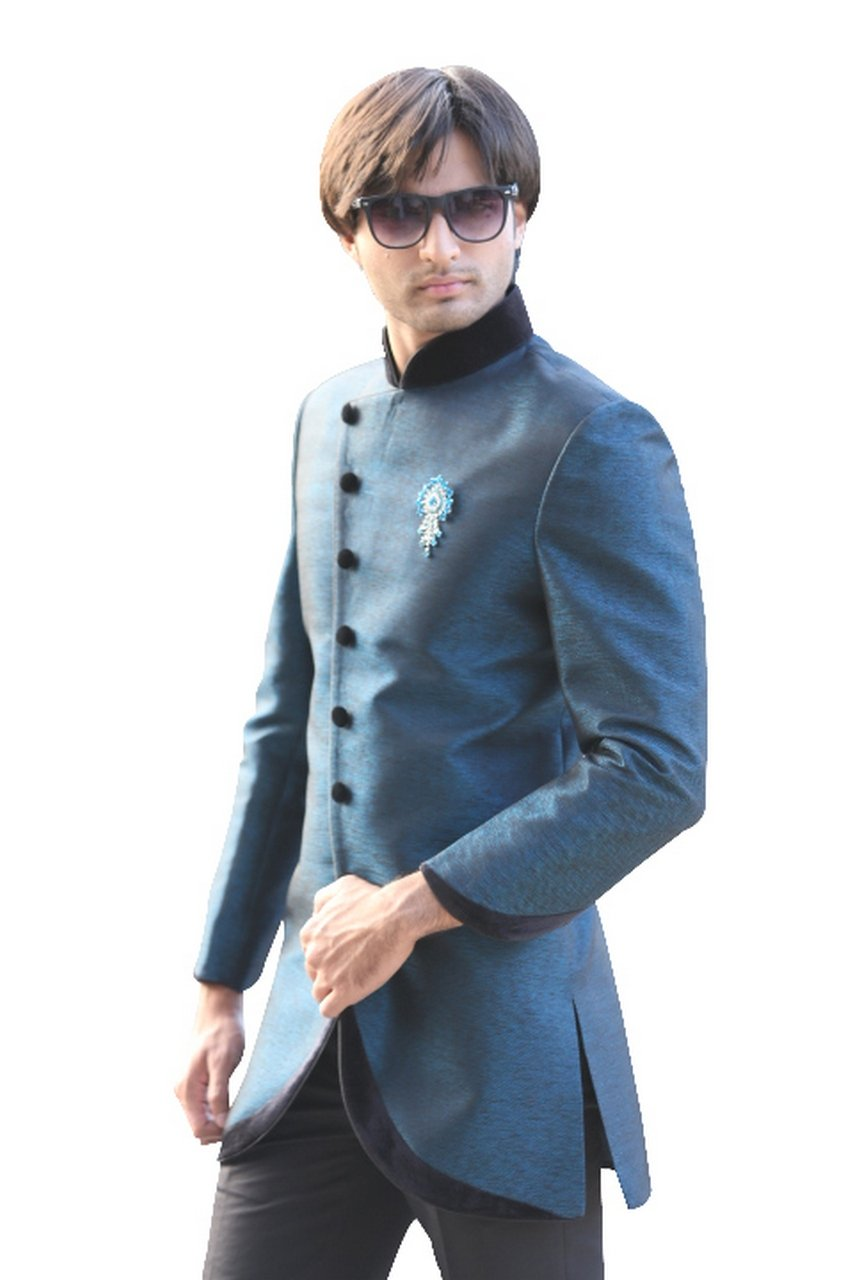 Evening Blue Indian Wedding Indo-Western Sherwani for Men by Saris and Things (Image #3)