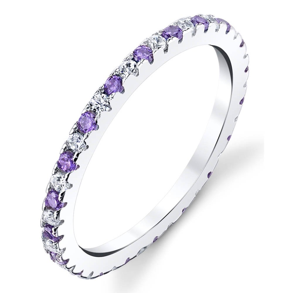 68b671a87bb Amazon.com  Solid 925 Sterling Silver Stackable 0.50 Carat TW Ring Micro  Pave Wedding Band Eternity Cubic Zirconia Tanzanite and White Diamond CZ   Jewelry