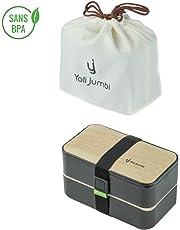 Yoli Jumbi⭐Lunch Box Noir Bambou | Boîte Bento Japonaise Haute Qualité avec 3 Couverts Solides Un Sac Bento Et 2 Pot À Sauce | 1200ml | Hermétique | Passe Au Micro-Ondes Et Au Lave-Vaisselle |Sans BPA