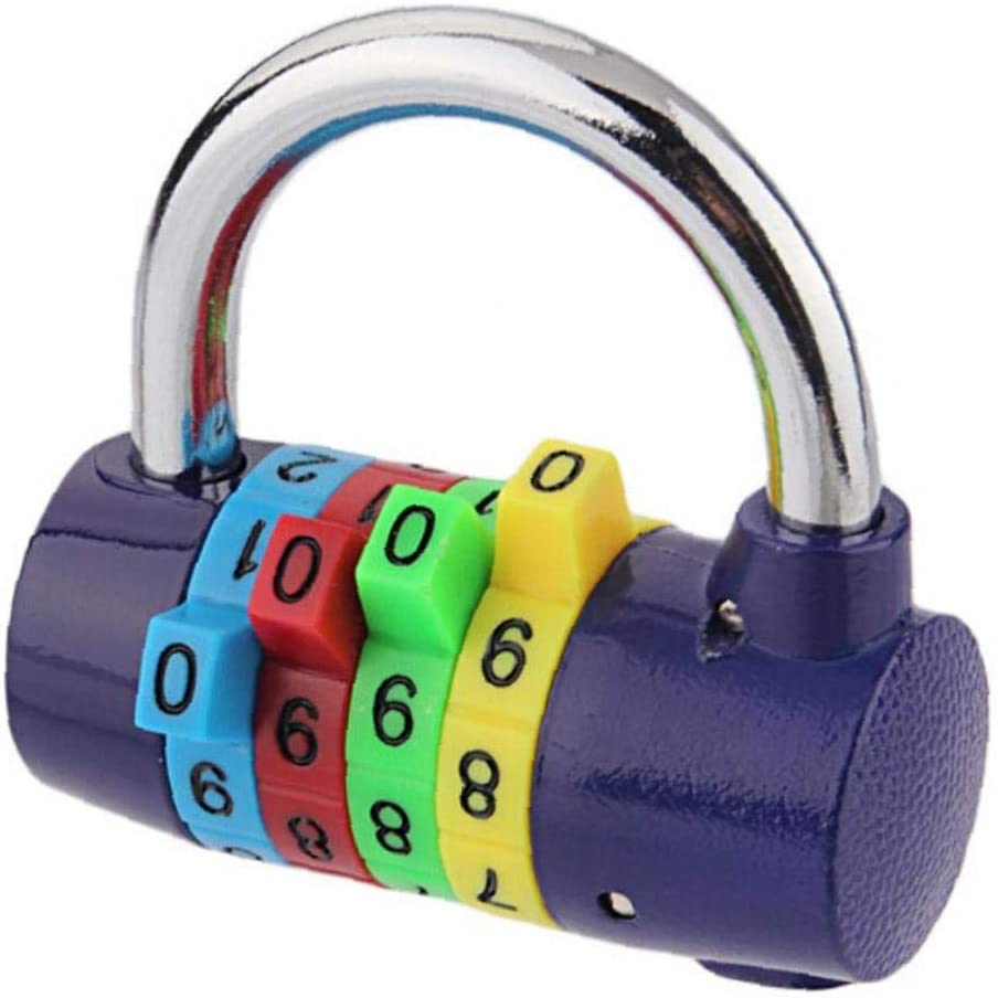 iHOMIKI 4 Stelliges Zahlenschloss R/ückstellende Digit Padlock Security Passwort Schl/össer F/ür Gym Schule Office Home Dark Blue 1pc