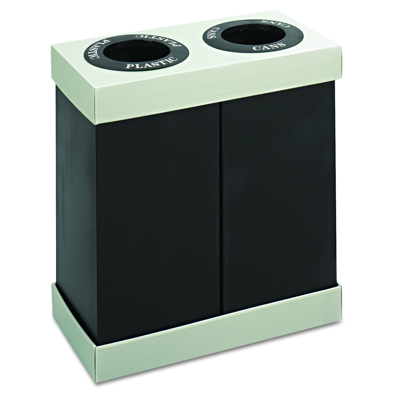 Safco Products 9794BL At-Your-Disposal Waste Recycling Center, Two 28-Gallon Bins, Black by Safco Products