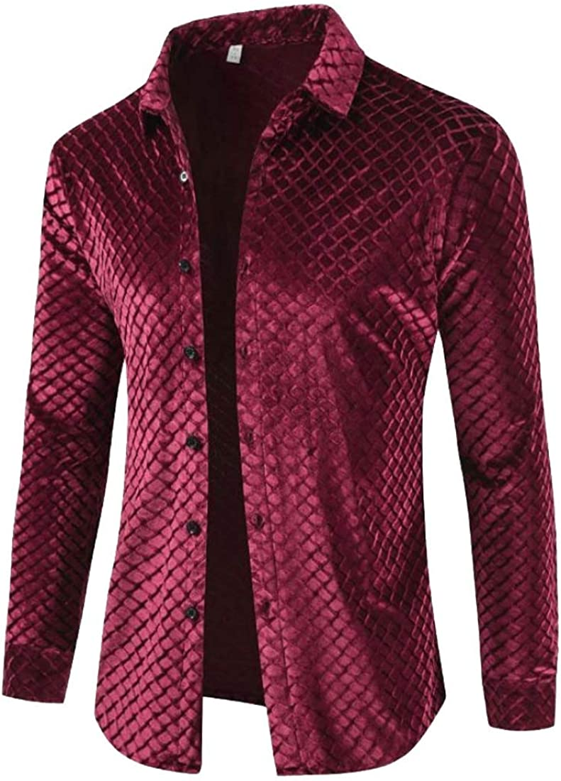 Cromoncent Mens Long Sleeve Casual Velour Button Down Shirts