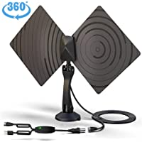 TV Antenna, Vproof Indoor HDTV Antenna TV Aerial 50 Miles Range 4K 1080P VHF UHF Reception Amplifier Signal Booster with Detachable Mount +10FT Coax Cable (Black)