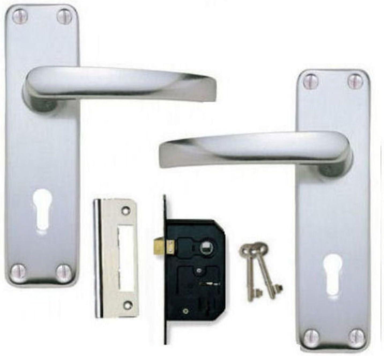 Poign/ées en aluminium saa Porte /à levier Serrure 2/Cl/és /à levier Lot de 2/ KA
