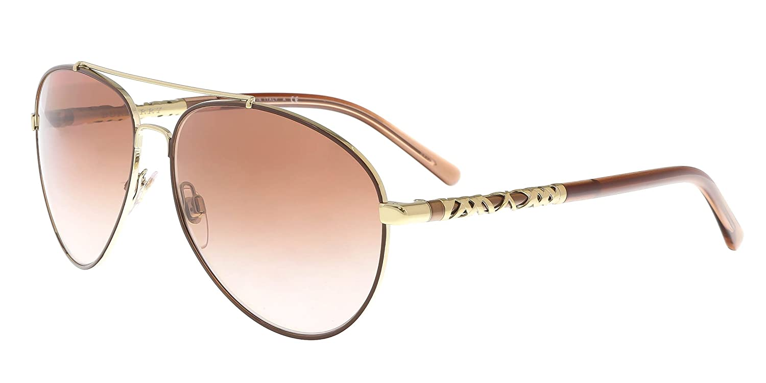 ffe0bca4511 Burberry Women s BE3089 Sunglasses Light Gold Brown Gradient 58mm at Amazon  Men s Clothing store