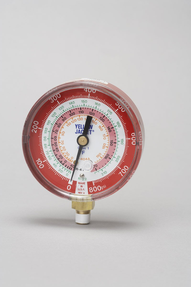 Yellow Jacket red pressure gauge 3-1/8'' high side R22/R404A/R410A