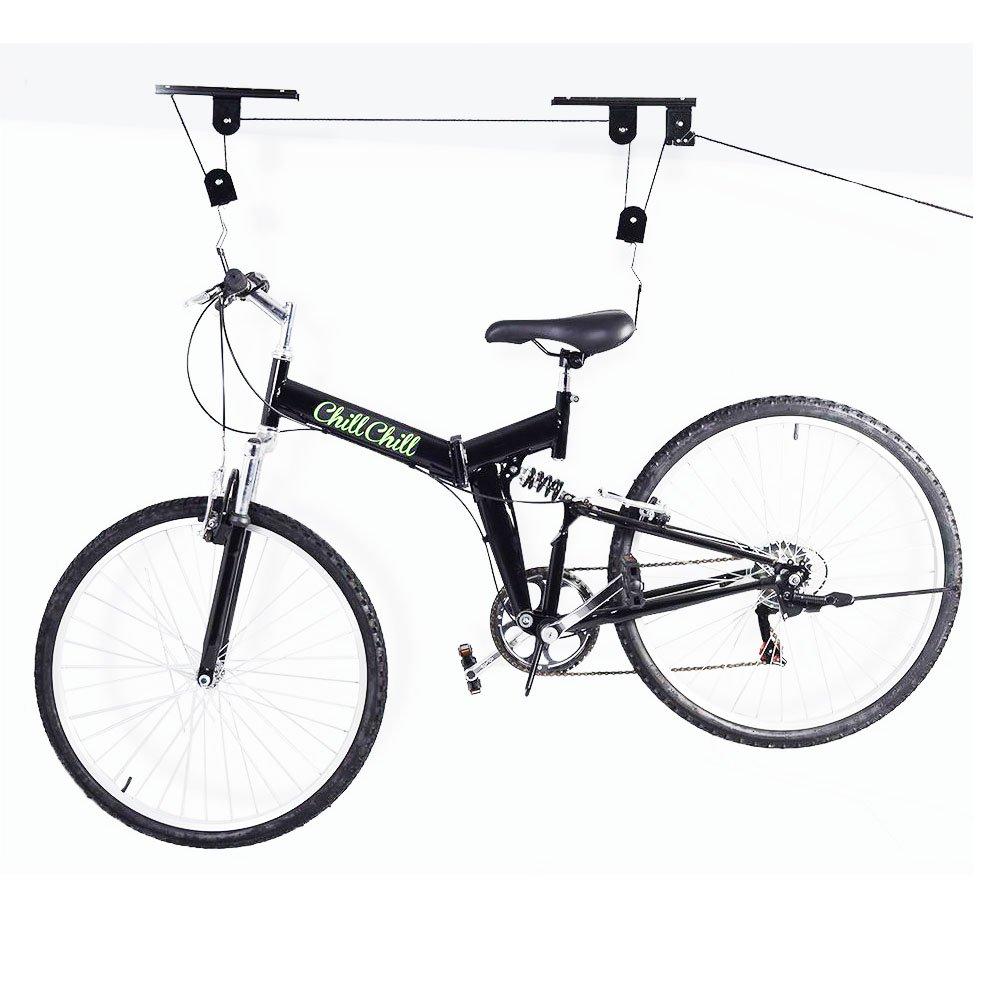 TG888 Bicycle Lift Bike Ceiling Mount Pulley Storage Hanger Hoist Hooks Rack Garage