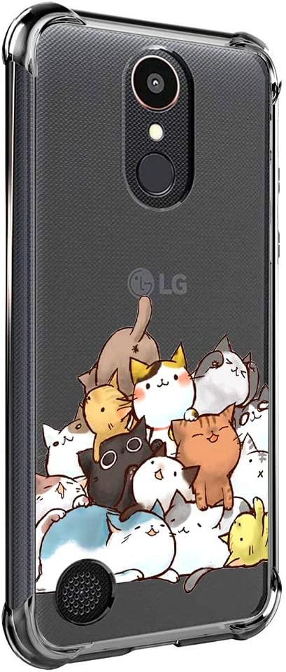 Case for LG K20 Plus, LG K20, LG K20 V, LG K10 2017, LG LV5, Harmony, VS501, Grace LTE for Girls N Women Kids Clear with Cute Cat Design Shockproof Bumper Protective Kitten Cell Phone Back Cover