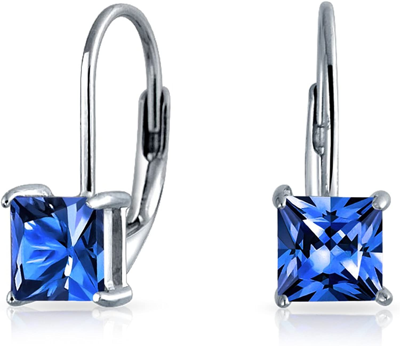 Bling Jewelry 925Plata de Ley Princesa Cut Leverback Pendientes de gota