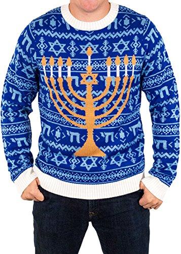 Festified Men's Chanukah is Funakah Ugly Hanukkah Sweater in Blue (X-Large)