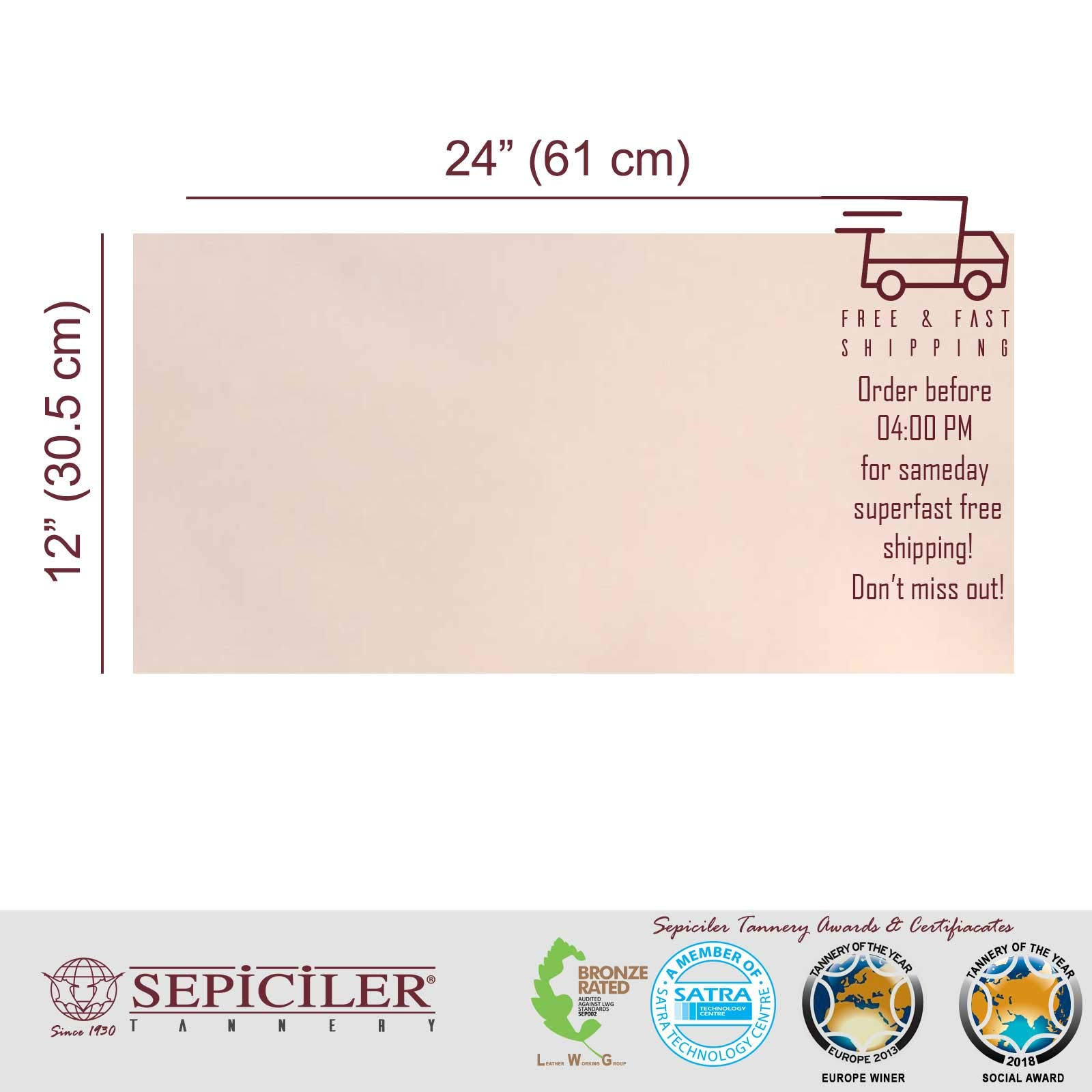 Sepici Leather | Veg-Tanned, 7/9 Oz. (2.8-3.6 mm) Natural 12''x24'' Pre-Cut Pieces for Tooling, Crafting and Wet Molding by SEPICI