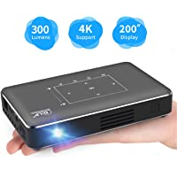 Portable Pico Projector, iXunGo Mini Pocket Smart Mobile Phone DLP Android Video Projector 300 ANSI Lumen with Bluetooth/USB/HDMI/2GB RAM, Support 1080P 4K Movie, for Outdoor/Home Cinema Entertainment