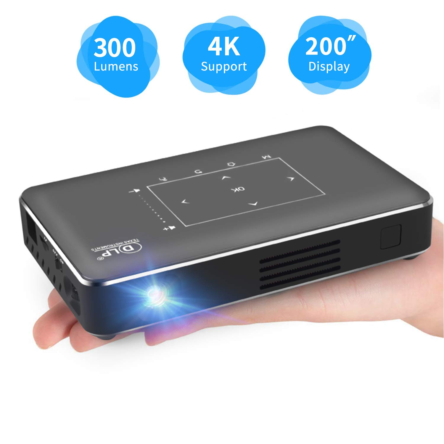 Haidiscool Pico Portable Projector, Mini Pocket Video Smart Phone DLP Android Projector 300 ANSI Lumen with Bluetooth/USB/HDMI/2GB RAM, Support 1080P 4K Movie, for Outdoor/Home Cinema