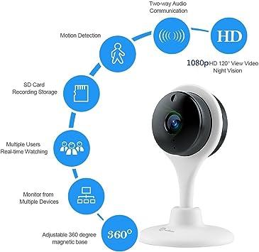 1*Misafes 1080p Hd Visión Nocturna Seguridad Cámara Inalámbrica Wi-Fi Misafes Bebé Monitor Mascotas