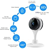 1080P HD Night Vision Camera,miSafes Wireless Wi-Fi 1080p HD Day/Night Camera for Baby Monitor Pets Cam Remote Home Guardian with 2-way Audio for IOS Android iPhone iPad Samsung HTC LG Sony Google Nexus White