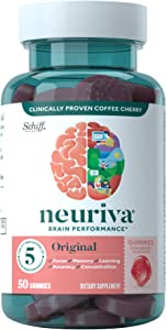 Nootropic Brain Support Supplement - NEURIVA Original Strawberry Gummies (50 count in a bottle) Phosphatidylserine, Gluten Free, Vegetarian - Supports Focus, Memory, Learning, Accuracy & Concentration