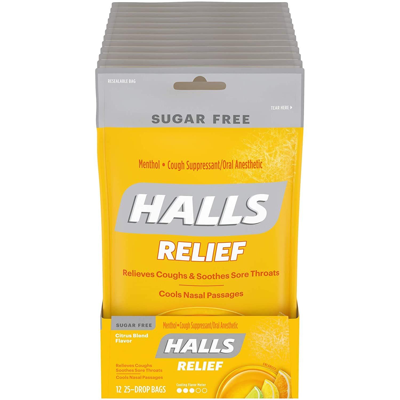 Halls Citrus Sugar Free Cough Drops - with Menthol - 300 Drops (12 bags of 25 drops) : Cough Drops : Grocery & Gourmet Food
