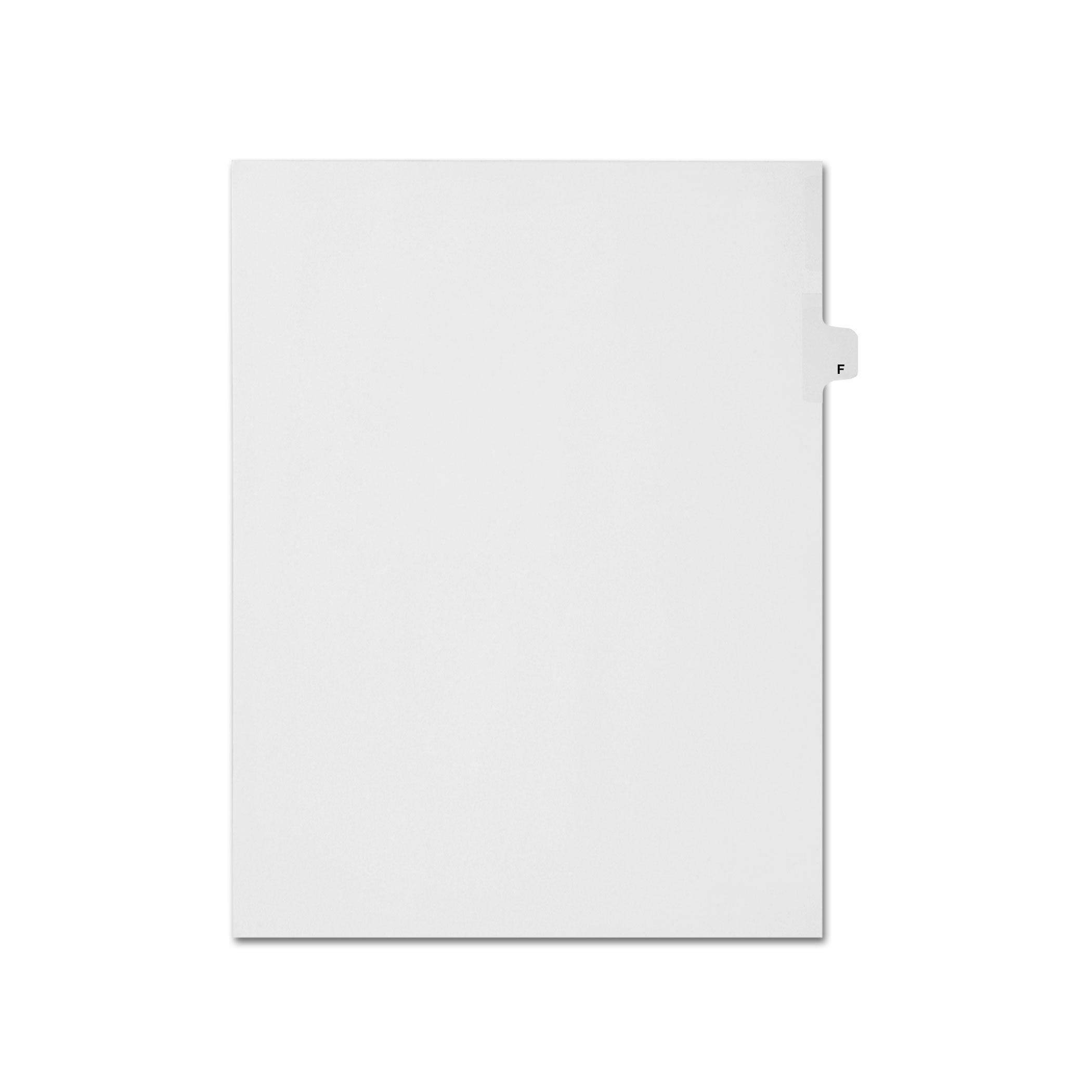 AMZfiling Individual Legal Index Tab Dividers, Compatible with Avery- Printed F, Letter Size, White, Side Tabs, Position 6 (25 Sheets/pkg)