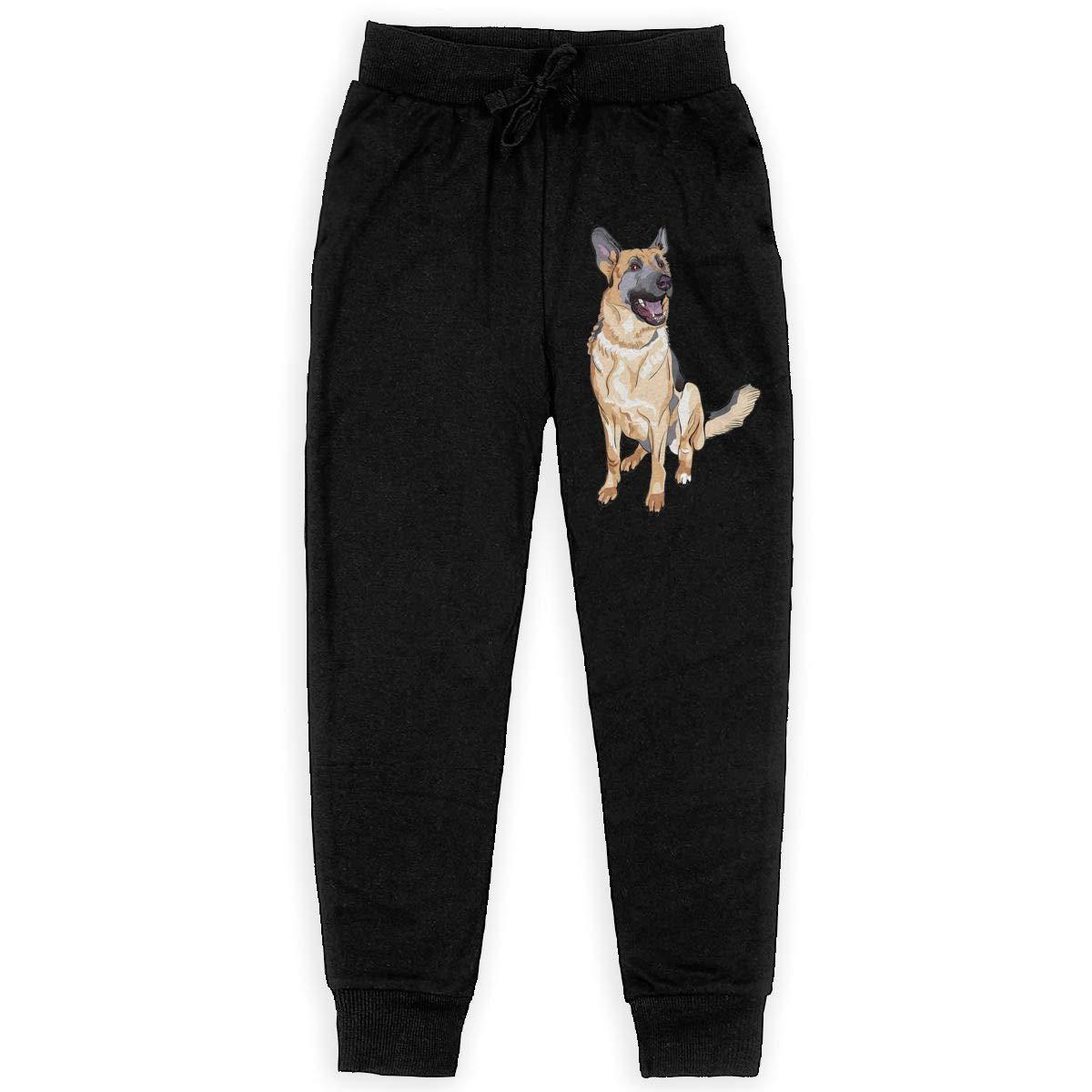 Qinf Boys Sweatpants German Shepherd Dog Joggers Sport Training Pants Trousers Cotton Sweatpants for Youth