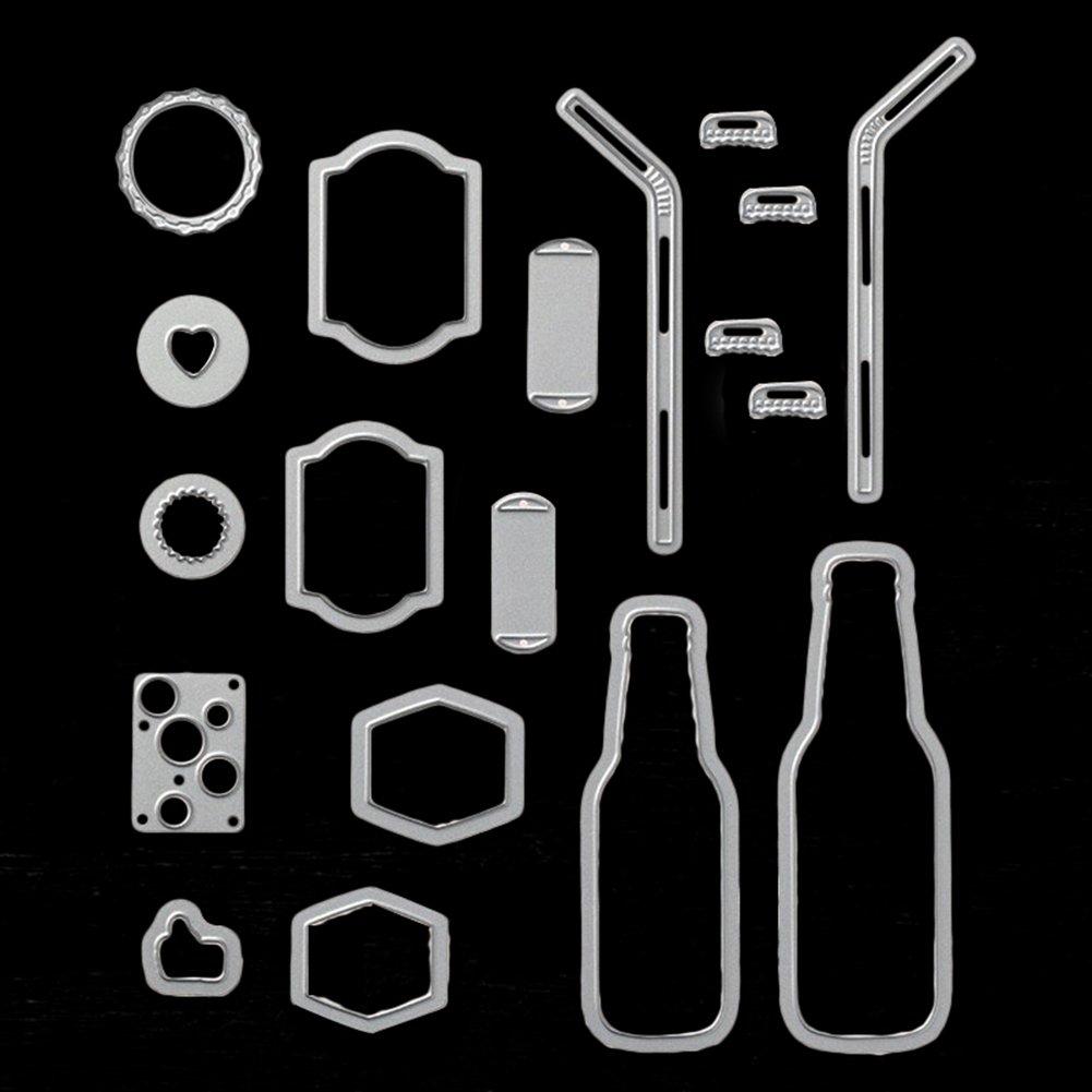 pushfocourag 19pcs//Set Metall Bubble Drink Flasche Stroh Schneiden die Manuelle DIY die Vorlage Pr/ägung Karte Sammelalben Formen f/ür Karten und f/ür Kinder Puzzle