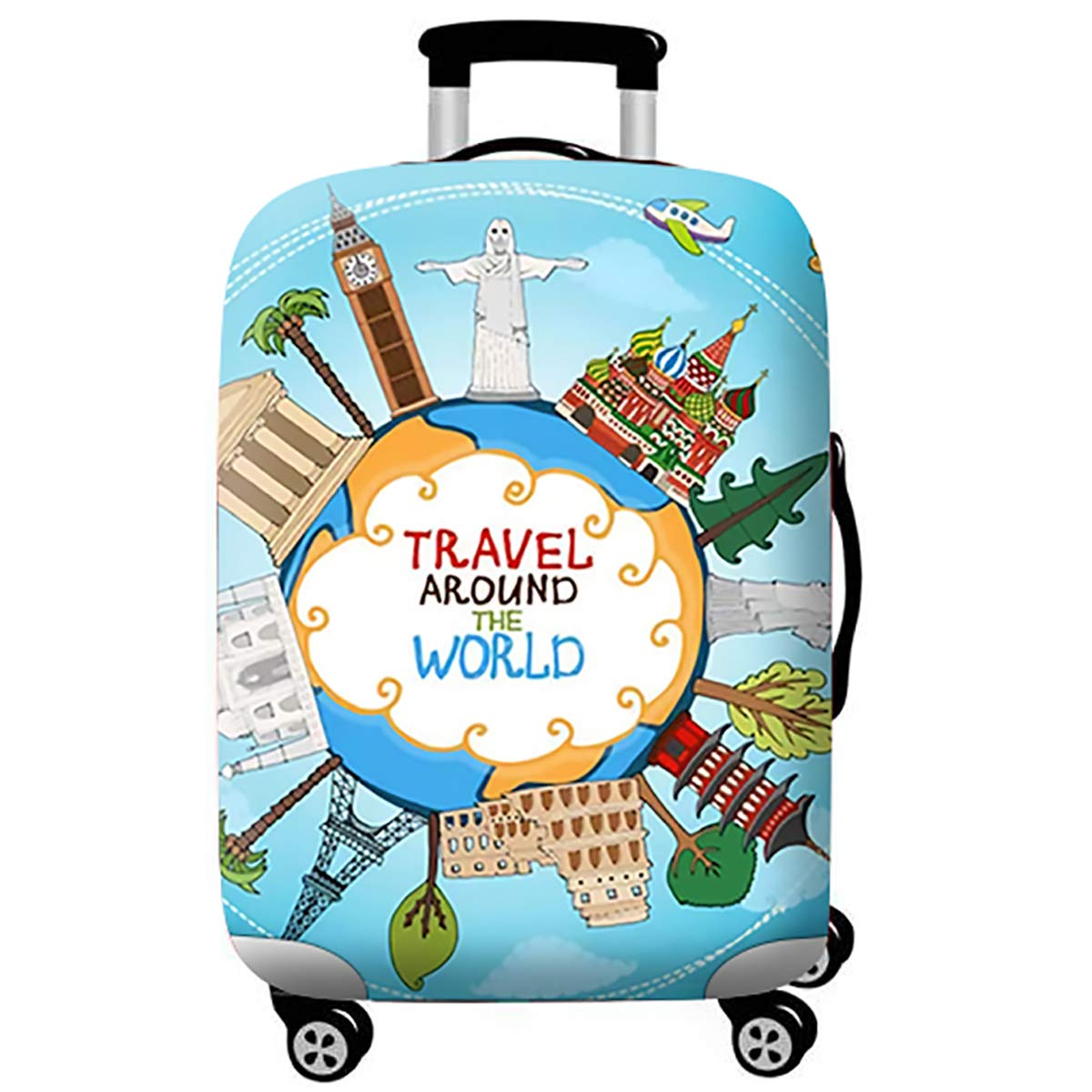 WUJIAONIAO Travel Luggage Cover Spandex Suitcase Protector Washable Baggage Covers (L (for 25-28 inch luggage), ocean)