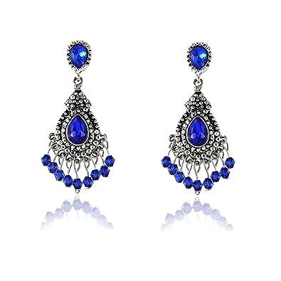 2f42bd3b9 Amazon.com: Gorgeous Cobalt Blue Austrian Crystal Dangle Boho ...