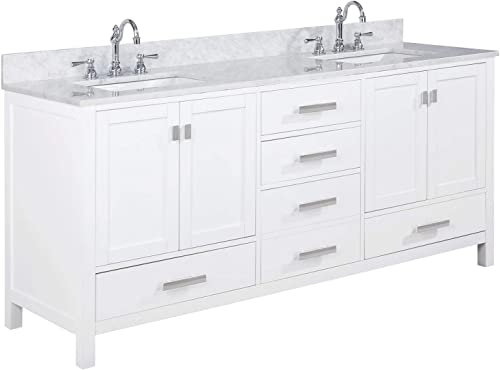 Luca Kitchen Bath LC72CWW Geneva 72 Double Vanity Set in White with Carrara Marble Top and Sink