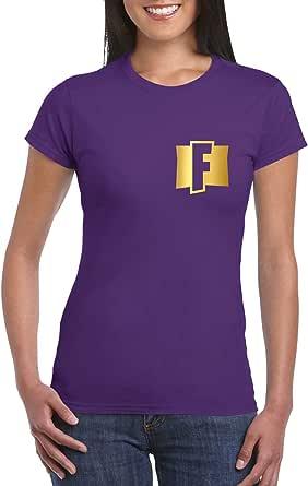 Purple Female Gildan Short Sleeve T-Shirt - Fortnite – Chest and back - Gold design